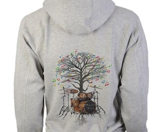 Drum Kit Hoody Musical Tree Drummer Percussionist in sizes up to XXL