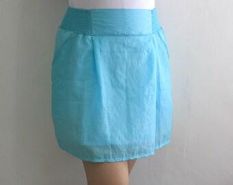 Spring Fashion Romantic Blue Mini Woman Skirt Pockets Ready To Ship