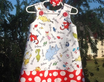 Dr. Seuss Cat in the Hat Dress, Red and White (girls, infant, child, toddler) Jumper or Sundress, with Matching Hair Accessory