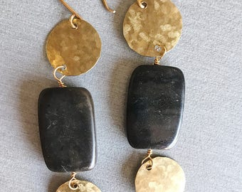 Stone and Textured Brass Dangles