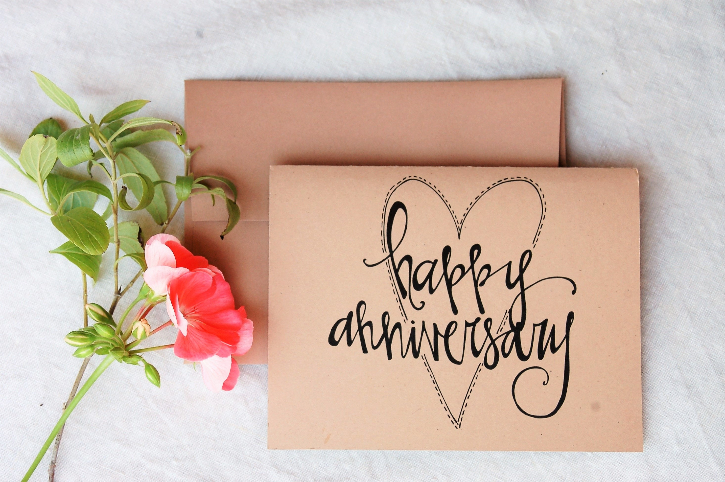 Anniversary card with names and year personalised wedding custom