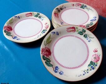 """6 vintage dessert plates in Vierzon porcelain """"UML"""" Marc Lavender. decorative object. Cadeaux.collection curiosity"""