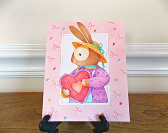 Etsy your place to buy and sell all things handmade valentines day card vintage valentine card vintage card valentines rabbit m4hsunfo