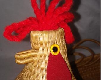 Vintage Rooster basket -Chicken Wicker Basket, Bread Basket, Food Display, Country basket, Kitchen Wicker Basket, Kitchen Decor, Rattan