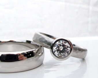 Platinum wedding ring, hammered engagement ring, diamond All Weather low profile engagement ring