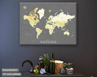 Wanderlust Slate gray World map pin board on canvas / Fine art quality World map with pins and Personalized travel mood board in one