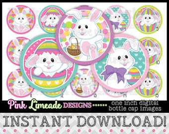 """Colorful Easter Bunnies - INSTANT DOWNLOAD 1"""" Bottle Cap Images 4x6 - 1011"""