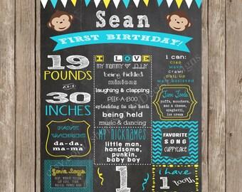 Mod Monkey Birthday Sign - Boy Mod Monkey - Girl  Mod Monkey - Mod Monkey Theme - Chalkobard Mod Monkey Printable Sign - DIY Printable