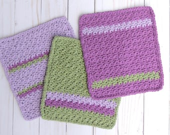 Crochet Washcloth, Baby Washcloth, Cotton Washcloth, Baby Shower Gift, Spa Gift, Ready to Ship, Mother's Day Gift, Gift for Her