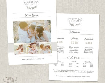 Photography Pricing Template - Photography Pricing Guide - Package Price List - Price Sheet -030 - C252, INSTANT DOWNLOAD