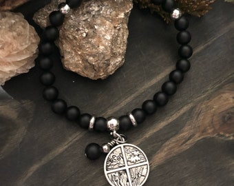 Black Onyx- 4 Elements Bracelet - Crystal Charm Bracelet, Witchy, Absorbs and transforms negativity, Empowering Reiki Energy!