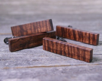 Groomsmen Tie Clip Gift Set: Handcrafted from Curly Hawaiian Koa with free engraving!