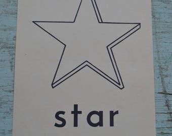 Vintage Flash Card Phonics Noun Picture Scrapbooking Large - Star