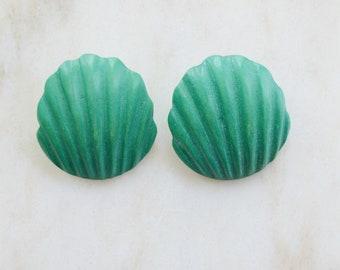 1980s Wooden Turquoise Earrings