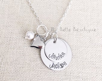 Personalized Mother's Necklace Two Discs Pearl and Heart Charms Hand Stamped