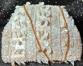 White Beaded Snap Clutch Purse No 1