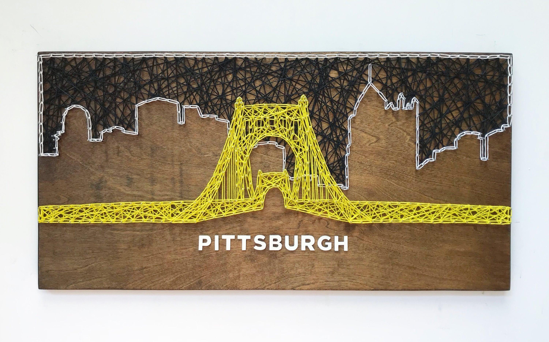 Pittsburgh Skyline String Art Roberto Clemente Bridge
