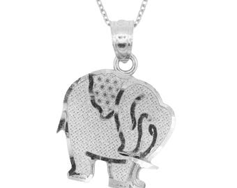 14k White Gold Elephant Necklace with Gold Chain, Good Luck Charms Elephant Jewelry, Animal Necklace