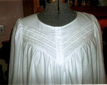 Plus Size Victorian white flannel nightgown with pintucks and lace