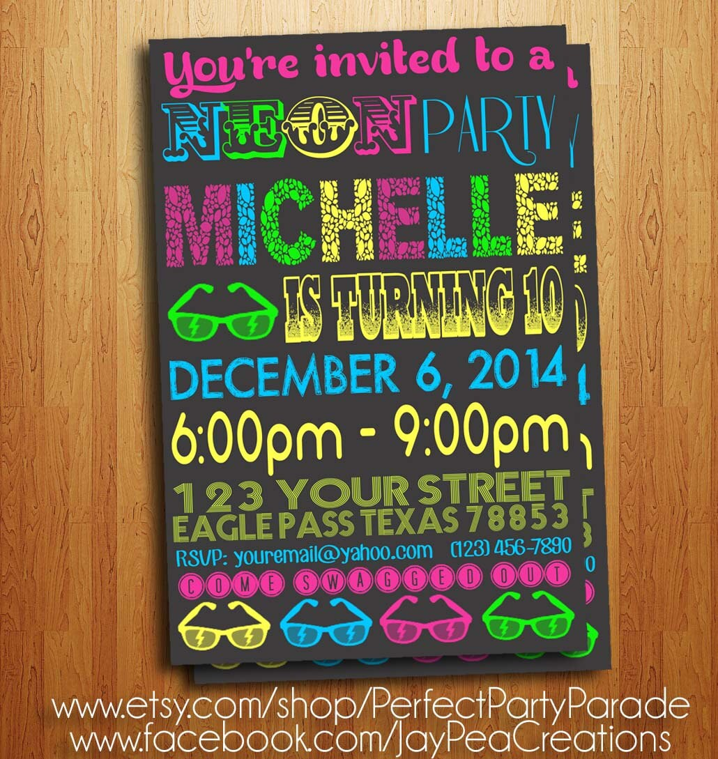 GLOW Party Chalkboard NEON invitation printable diy invite