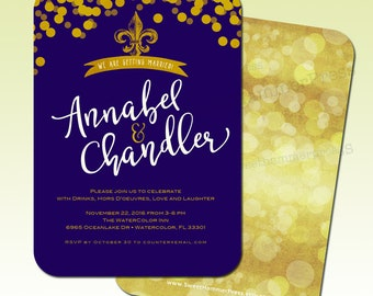 Purple and Gold Wedding Invitation Fleur-de-lis Wedding Elopement Reception Invitations We tied the knot party We got hitched Invitations