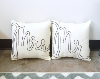 Mr and Mrs Embroidered Decorative Throw Pillow Cover Set Grey Chevron Wedding Bridal Shower Gift