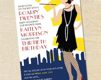 Sweet Wishes Roarin Twenties Flapper Party Invitations - PRINTED - Digital File Also Available