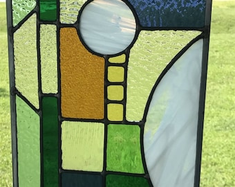 Abstract, graphic color block stained glass window panel