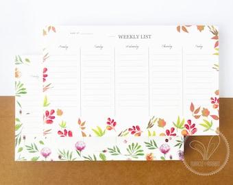 Floral Weekly Planner Notepad / Weekly List Notepad