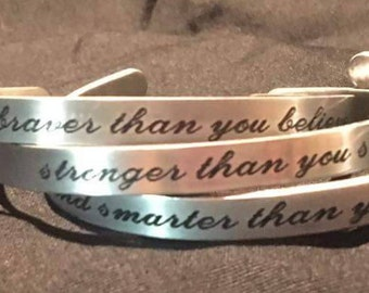 You are braver than you believe 3 piece cuff set