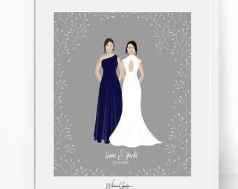 DIGITAL Custom portrait couple, Custom couple illustration, personalized portrait, family illustration with pets, wedding gift, wedding gift