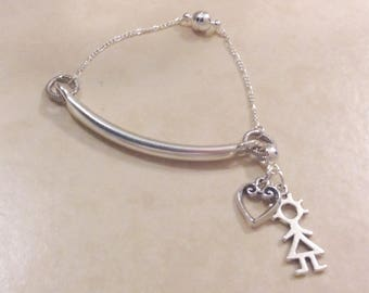 Sterling Silver Bar and Chain Bracelet with Charms