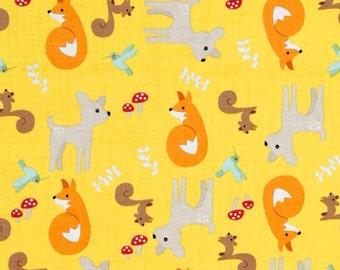 Fox - Squirrel - Deer - Riley Blake Good Natured Main Yellow 100% Cotton - Fabric SALE - 6.99 Yard - 5 Yards in Stock