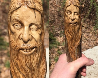 Walking Stick, Wood Carving, Hand Carved Staff, Cane, Wood Spirit Carving, OOAK, Wood Sculpture, Perfect Wood Gift, by Josh Carte, Ohio