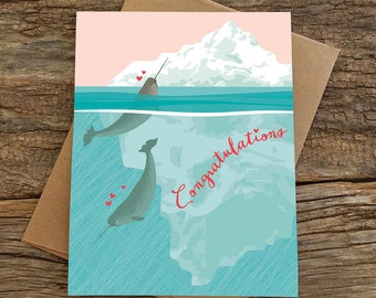 funny wedding card / funny engagement card / narwhals