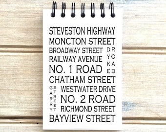 Steveston B.C. - Love This Place - Street Name Notebook - Busroll Notepad Journal Custom Gift - Vancouver Canada