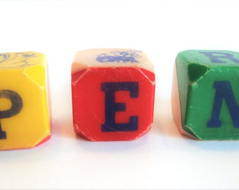 Vintage Plastic Blocks - Rattle Blocks - Building Blocks - Letter Blocks - Animal Block