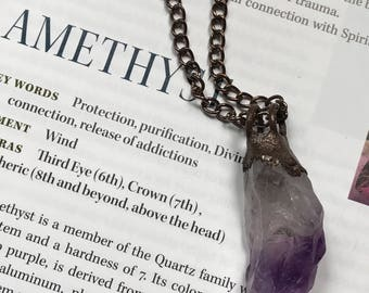 Amethyst Pendant // Electroformed Jewelry