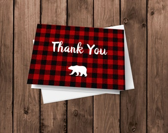 Lumberjack Thank You Cards |  Flannel Lumberjack Notecards | Rustic Stationery | Folded Card | Blank Thank You Card