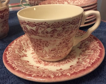 Vintage EIT English Ironstone Tableware England Pink and White