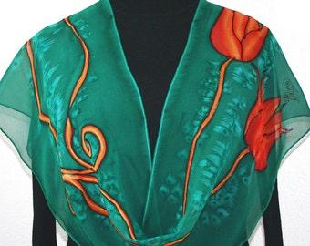Emerald Green Hand Painted Chiffon Silk Shawl LOVE TULIPS, in 2 SIZES. Hand Dyed Silk Scarf. Birthday Gift, Bridesmaid Gift