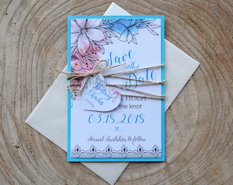Turquoise Wedding Save The Date, Colorful Wedding Save the Date Card, Personalized Wedding Save the Date