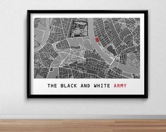 Fulham Football Poster, Football Poster, Football Print, gift, Map Print,  Present