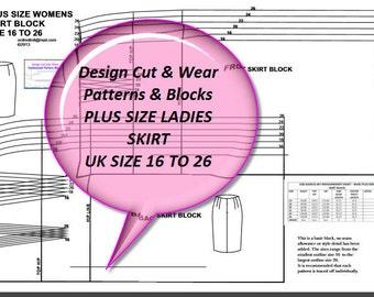 Plus Size Ladies Basic Skirt Block - UK Size 16 to 26 ( US Size 12 - 22) European Size 44'' to 54'' - Sloper - Design Your Own Patterns!