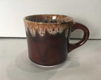 Vintage Brown Drip Pottery Mug Made In USA Collectible Restaurant ware