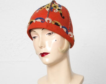 Antique Austrian Wool Hat with Emgroidery