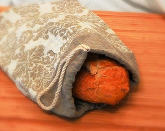 Reusable Jacquard and Natural  Linen Bread Bag