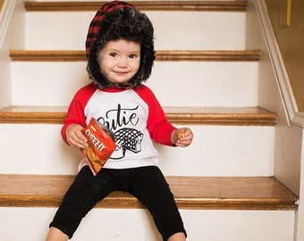 CUTIE PIE - American Apparel Children's Raglan Sleeve Tee Shirt - 6 mo Dear Seed Custom Artwork - Hand lettered - Made in the USA - DearSeed