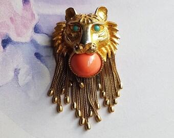 Vintage PAULINE RADER Lion Brooch/Necklace - SIGNED