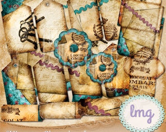 "Digital Junk Journal Papers - ""Vintage Chocolate"" - Shabby Chic, Ephemera, Hang Tags, Flowers, Travelers Notebook Journal, Tickets, CU"